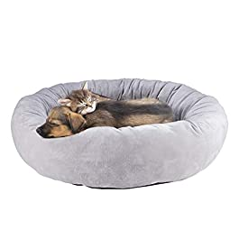 Fyore Pet Bed for Dog Cats Donut,Pet Sleeping Bed Fleece Round Warm Puppy Bed Washable for Small Medium Dogs,Anti-Slip Bottom,23.6″X 23.6″X 6.3″