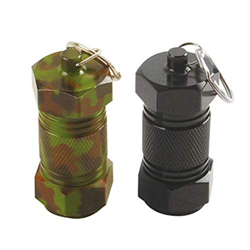 LIOOBO 2 unids Pastillero píldoras Llavero Caja Botella contenedor de Aluminio Impermeable