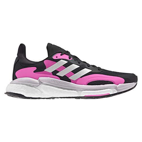 adidas Solar Boost 21 W, Zapatillas para Correr Mujer, Core Black Screaming Pink Halo Silver, 36 EU