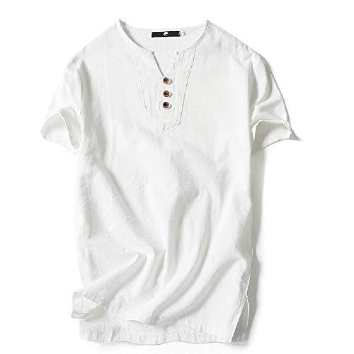 NOBRAND Verano de los Hombres de lino de manga corta t-shirt de los Hombres Delgada Casual Algodón de Lino Camiseta de fondo Blanco blanco XL
