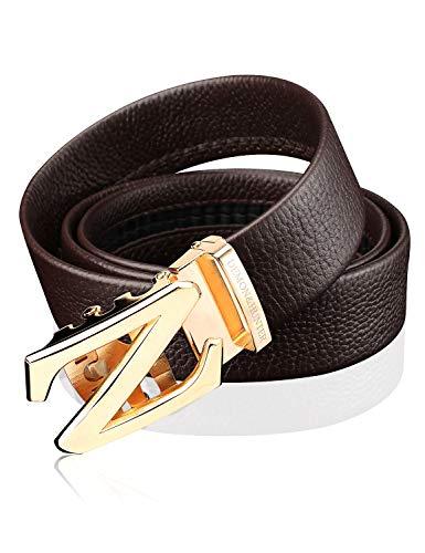 Demon&Hunter Luxury Series Men's Leather Ratchet Belt H72906(Brown/120CM)