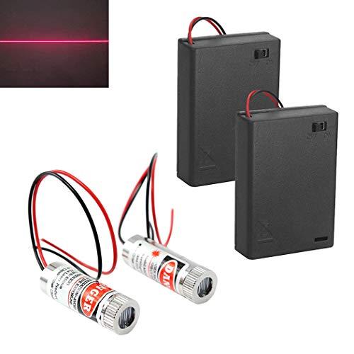 WayinTop 2 Stücke Linienlaser 650nm Fokussierbare Lasermodul Strichlaser Fokus Einstellbar Laser Level Rot 3-5V mit Kunststoff Linsen + 2 Stücke AA Batteriehalter