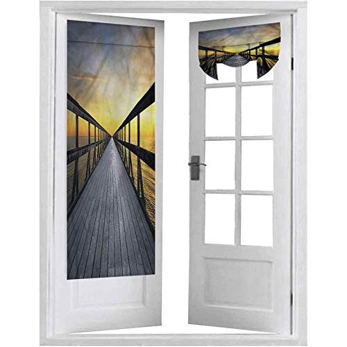 Blackout Door Curtain, Landscape,Long Wood Pier by The Sea, 1 Panel-26' X 68' Blackout Door Curtains for Privacy
