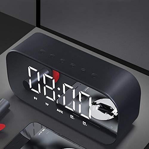 Alarmclocker8B Bluetooth-luidspreker, led-spiegel, wekker, subwoofer muziekspeler, snooze desktop klok draadloos met FM-radio zwart