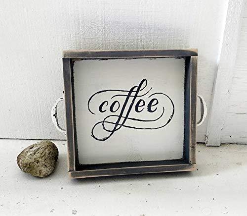 43LenaJon COFFEE houten dienblad, TV tray, keukenblad, houten bord, rustiek, boerderijstijl, housewarming cadeau