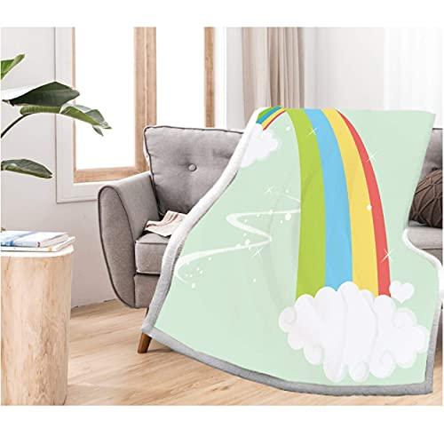 Manta de forro polar con estampado en 3D, de arco iris, para sofá, senderismo, picnic, para adolescentes, niños, niñas, 150 x 200 cm