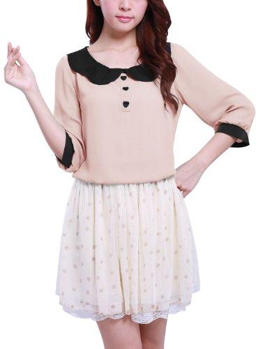 Allegra K Women Peter Pan 3/4 Sleeve Summer Top Chiffon Blouse,X-Small / US 2,Pink
