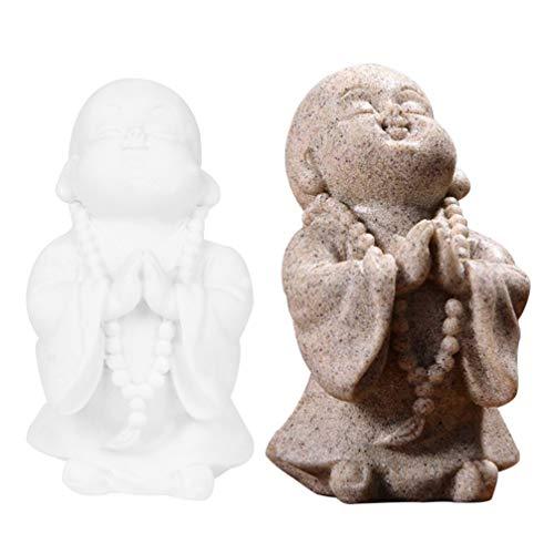 Yardwe Wenig Mönch Figuren Segen Buddha Statue Statue Harz Buddha Statue Buddhismus Buddha Maitreya Fengshui Statue Tabletop Dekoration Ornament für Hause Auto Dekorationen 2Pcs