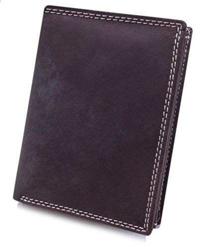 BelleBay Echt-Leder Herren Geldbörse | Leder Portemonnaie - aus weichem BüffelLeder | Portmonee - Brieftasche - Geldbeutel | Kredit-Kartenetui Hochformat (Braun)