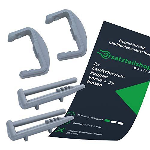 ersatzteilshop basics Laufschienenanschlag Endschienenkappen Set (vorne + hinten je 2x) - Bauknecht, Ikea, Whirlpool, Beko Geschirrspüler Ersatzteile