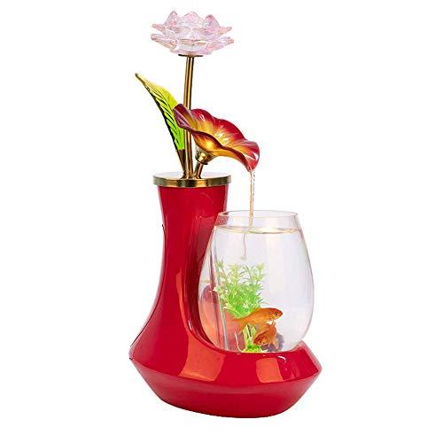 JIANGU Europese keramische glas vis tank - water fontein bureau woonkamer tv-kast bureaublad decoraties, rood Aquarium -25cm*18cm*42cm