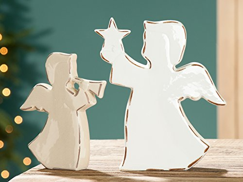 1 x engel porselein met ster of trompet crème/beige geglazuurd vlak used look hoogte 19 cm, Kerstmis, Kerstmis (engel m. licht)