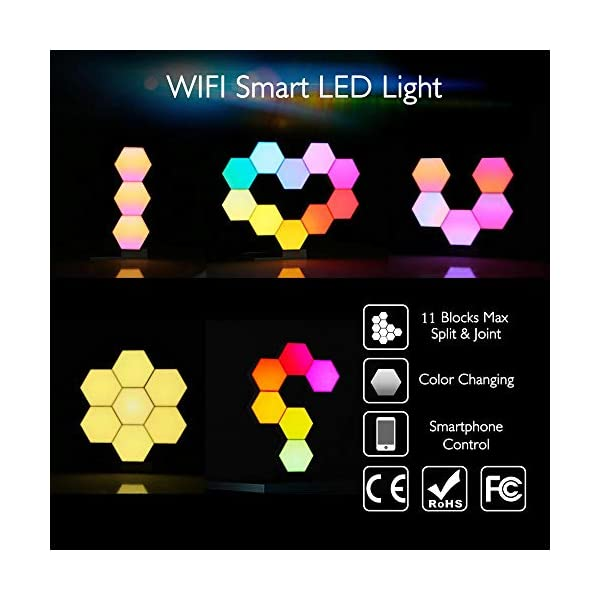Yescom 11pack Wifi Smart Led Light Kit Diy Night Lamp Voice Control 16 Million Color Compatible With Alexa Google Home