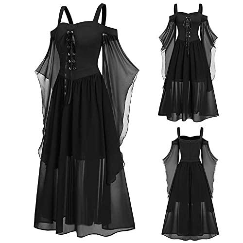 Aobliss Womne Vestido medieval fro con mangas de mariposa con cordones para Halloween vestido gtico, 1-negro, XXXL