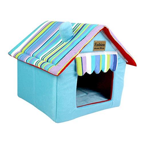 JEELINBORE Hunde Haus Hundehöhle Katzenhöhle Abnehmbar Faltbar Hundebett Katzenbett Haustier Schlafsack (Blau, 33 * 26 * 35cm)