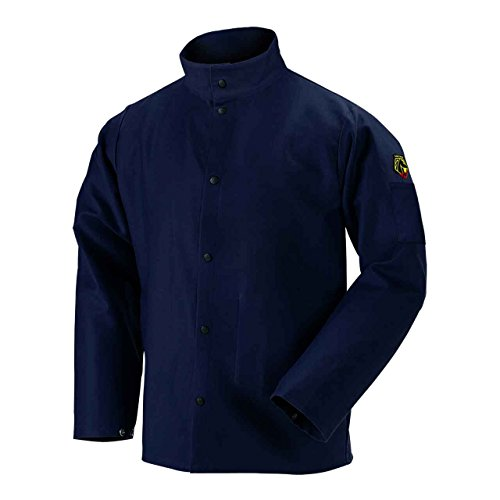 "Black Stallion FN9-30C 30"" 9oz. Navy FR Cotton Welding Jacket, Large"