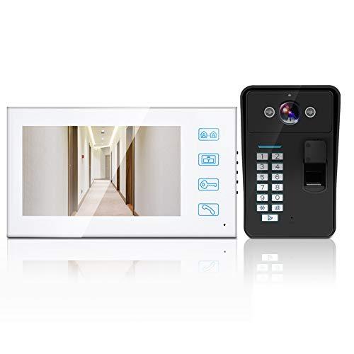 Video Türklingel Intercom Kit Fingerabdruck Passwort Video Zugangskontrolle Ausrüstung Smart DoorBell Kit Unterstützung 1000 Fingerabdrücke HD Digitalkamera Nachtsicht(EU)