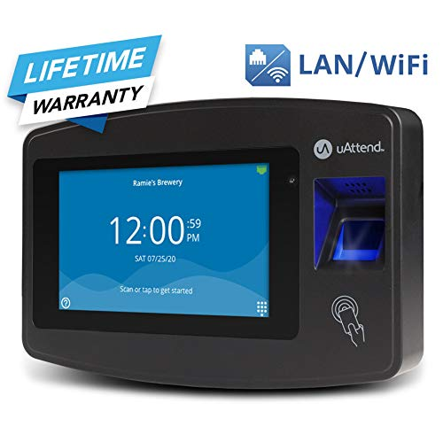 uAttend Cloud-Connected Touchscreen Time Clock with Finger Scan, RFID and PIN Punching in One (JR2000) (Digital Time Clock)
