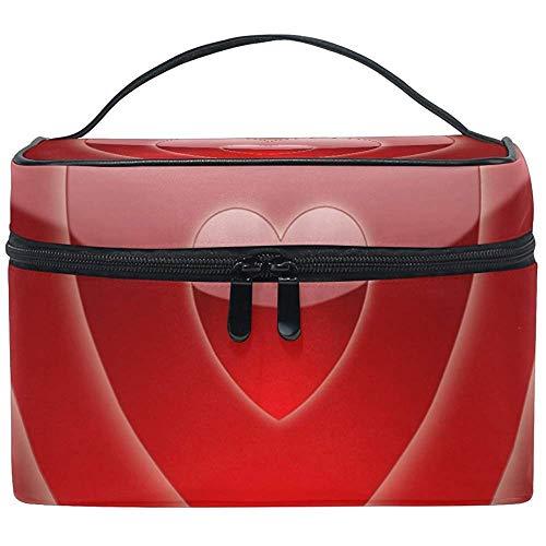 Sac cosmétique de Sac de Toilette de Maquillage de Sac cosmétique de Coeur Rouge avec la Double Tirette portative