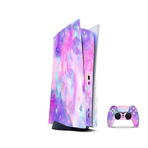 PS5 Skin Console Controllers De 46 North Design, Misma Calidad Que Las Calcomanías De Coche, Cosmos Rosa Azul Estrellas Galaxy, Alta Calidad, Duradera, Compatible Con PS5 W/Disk, Fabricado En Canadá