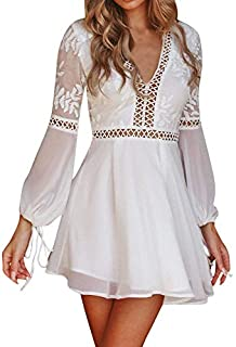 DEATU A Line Dresses for Women Ladies V-Neck Lace Long Sleeve Backless Party Bandage Mini Dress(White ,M)