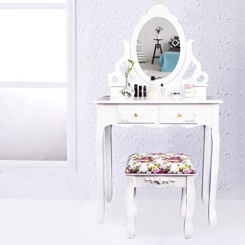 CCLIFE Specchiera Tavolo Cosmetici Mobile da Trucco da Toeletta con Sgabello Comò con Specchio, Colore:011-Bianco