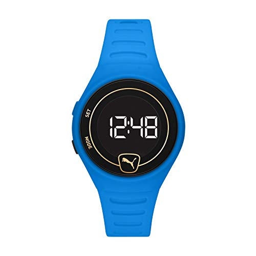 PUMA Faster Quartz Watch with Plastic Strap, Blue, 18 (Model: P5048)