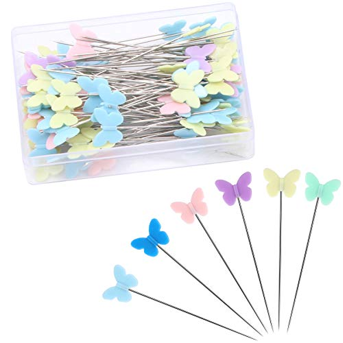 100 pcs 2.16 Inch Sewing Pins Flat Head Straight Pins Butterfly Head Sewing Pins Straight Quilting Pins for Sewing DIY Projects Dressmaker Jewelry Decoration (100)