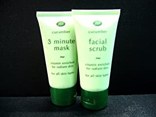 Boots Cucumber 3 Minute Face Mask & Natural Cucumber Extract Facial Scrub Mask Made in Thailand