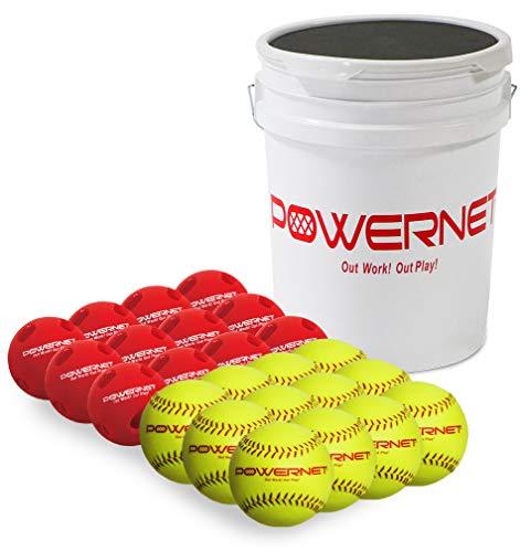 PowerNet Training Balls Bundle | 12-12' Softballs + 12 Crushers | Recreation Grade | Perfect for Softball Soft Toss, Batting or Fielding (Bucket & Balls)