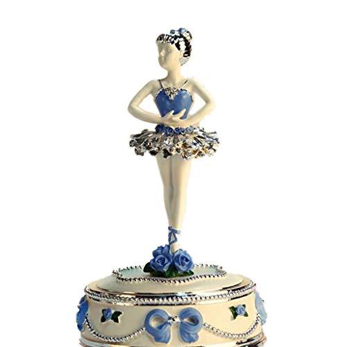 LILY-music box Boîte à Musique Manuelle Boîte à Musique, Ballet créatif Rotation Danseur décoration créative boîte à Musique Cadeau d'anniversaire Saint Valentin Bon Son (Color : Blue)