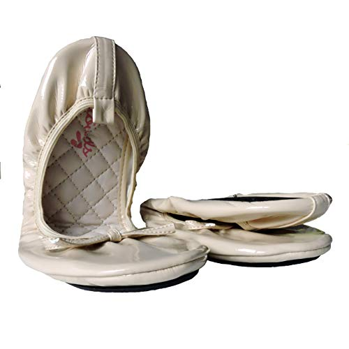 Womens Patent Style Foldable Portable Ballet Flats Shoes That fit in a Carry Pouch off-white Size: 7 UK