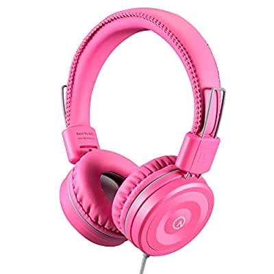 Kids Headphones-noot products K22 Foldable Stereo Tangle-Free 3.5mm Jack Wired Cord On-Ear Headset for Children/Teens/Girls/Smartphones/School/Kindle/Airplane/Plane/Tablet-Flamingo Pink/Gray by noot products