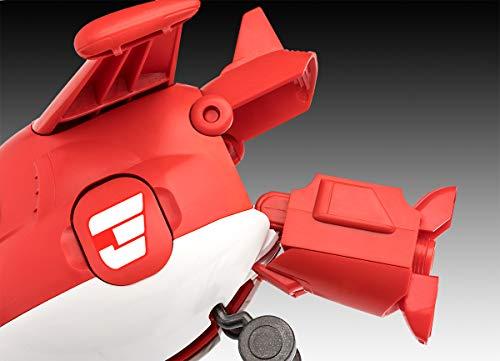Revell 870 Jett aus Super Wings 4 Der Bausatz mit dem Schraubsystem für Kinder ab 4 Jahre, Bauen-Schrauben-Spielen, mit tollen Funktionen, rot-Weiss, ca. 24 cm