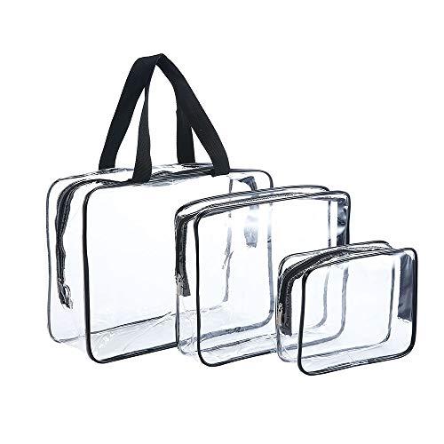 JZK 3X Transparent Kosmetiktasche Wasserdicht PVC Kulturbeutel Kulturtasche Kosmetik Reiseset 3-teilig für Ferien, Bad und Organisieren, 3 Größen (Klein, Mittel, Groß)