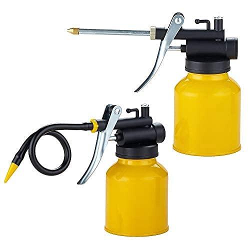 Junchi Hand Pump Oiler Can Professional Level 8 oz. Capacity Pump Oiler with Metal & Long Flex Spout