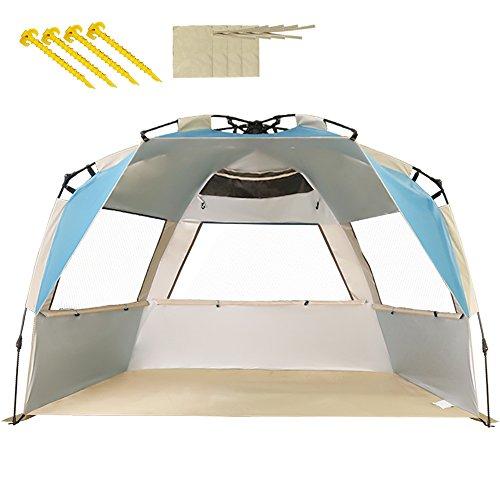 ZOMAKE Family Strandzelt, 2-4 Personen, Automatische Strandunterstände Anti UV UPF 50+, Sonnenschutz für Strandangeln im Freien (Karibikblau)