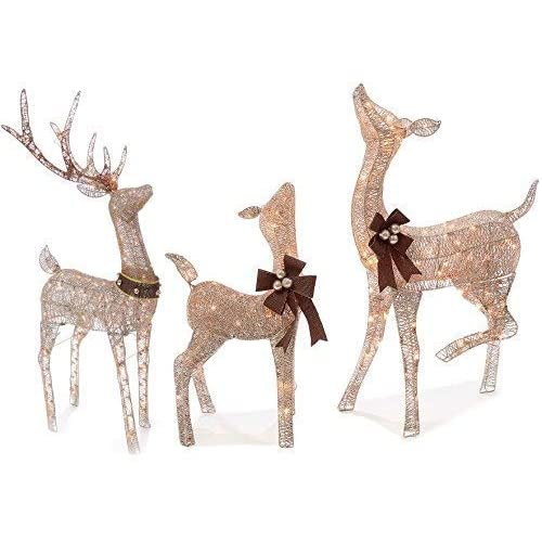 Christmas REINDEER FAMILY 3 piece SET, Includes Glittering Gold Buck, Doe  and Baby Deer - Reindeer Yard Christmas Decorations: Amazon.com
