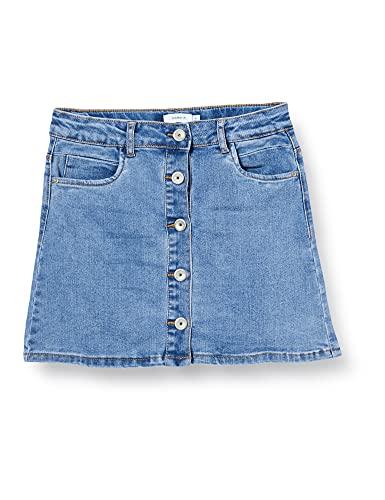 NAME IT Mädchen NKFRANDI DNMTECES 1455 ASHAPE Skirt NOOS Rock, Light Blue Denim, 146