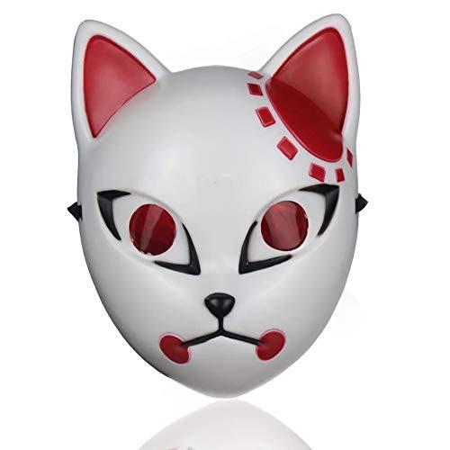 shengo Kimetsu no Yaiba - Demon Slayer Maske Kamado Tanjirou/Sabito/ Makomo Anime Cosplay Zubehör Prop Persönlichkeit Maske für Erwachsene Halloween Karneval Kostüm Maskerade Party (02)