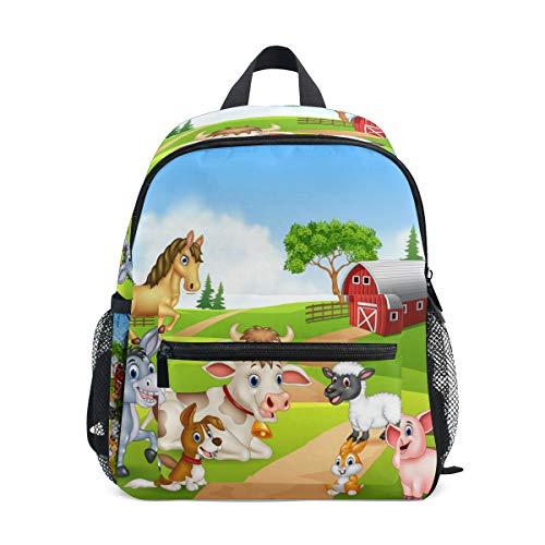 Rucksack Schultasche Büchertasche Reise Daypack Mädchen Junge 2-6 Jahre alt, Bauernhof (Weiß) - fggpynl36