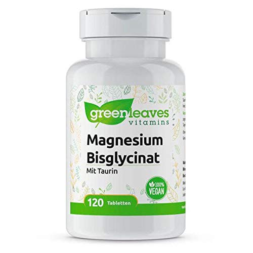 Greenleaves Vitamins - Magnesium Bisglycinat 100 Tabletten 200 mg Taurin. Hohe Dosierung. 100{f55f608c32ee8c4e1d8af26844c3aeddb71f18b519d3009eca1597e96157cbfe} Vegan.