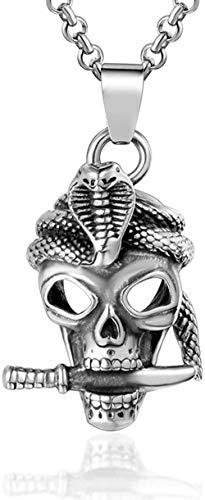 NC110 Collar de Calavera de Acero de Titanio dominante, Tendencia Masculina, Personalidad, Cabeza Fantasma, Collar Punk de Rock, Accesorios para Discoteca YUAHJIGE