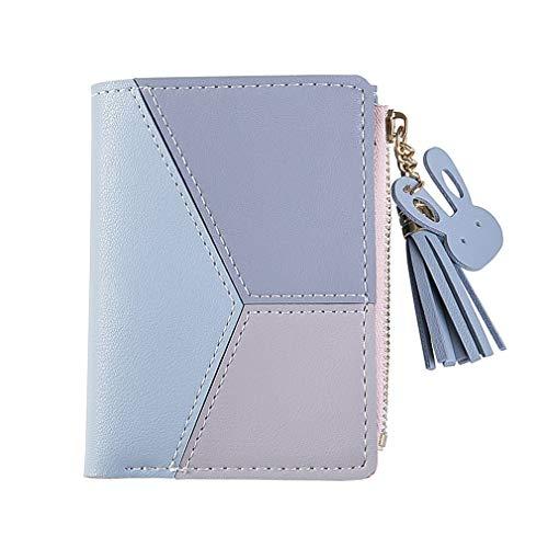 Korta damer dragkedja plånbok kvinnlig student mosaik färg tofsar vild handväska (Blå)