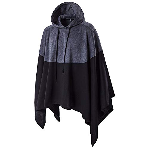 SERYU Mens Irregular Patchwork Loose Bat Sleeves Hooded Poncho Cape Coat
