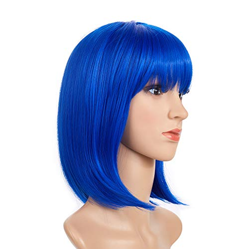 BeliHair Blue Costumes Wigs for Women Short Bob Straight Synthetic Hair Wig with Flat Bangs for Cosplay Halloween Party Hot Natural As Real Hair + Wigs Cap 12 inch