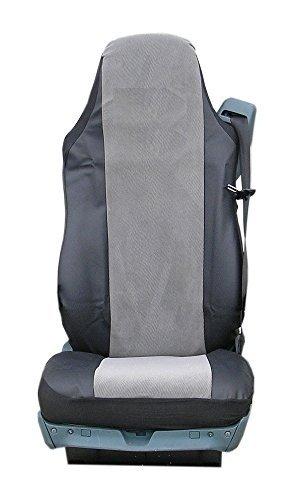 A1 2 x vrachtwagenstoelhoezen hoogwaardig kunstleer zwart-grijs hoezen set