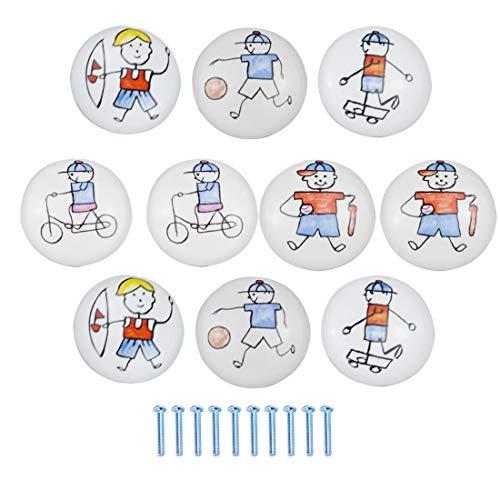 TETAKE Möbelknöpfe Kinderzimmer 10x Keramik Schubladenknöpfe Kinder Motiv mit Schraube für Mädchenzimmer und Jungenzimmer