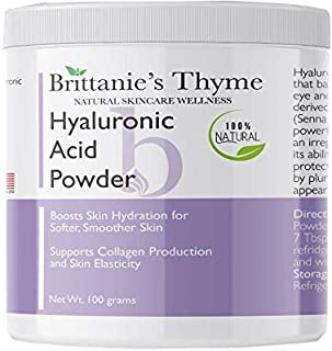 Brittanie's Thyme Pure Hyaluronic Acid Serum Powder, 100 Grams | 100% Natural, Boosts Skin Hydration for Softer, Smoother ...
