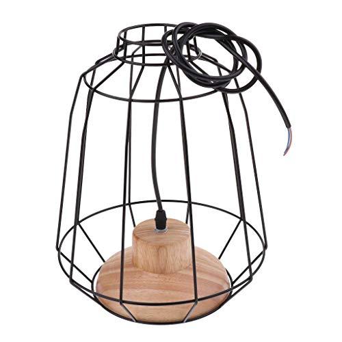 Tubayia Lámpara colgante de metal con forma de jaula E27, portalámparas para casa, cafetería, decoración